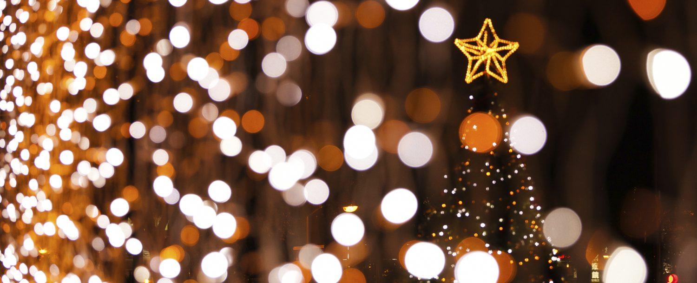 lights and Christmas tree with star on top