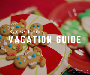 Christmas gingerbread cookies on a plate. text reads access our vacation guide