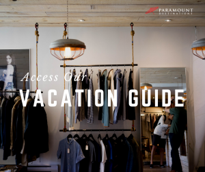 boutique store clothes hanging on racks text reads access our vacation guide