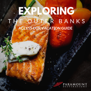 delicious grilled fish and seafood dish plated beautifully text reads exploring the outer banks access our vacation guide