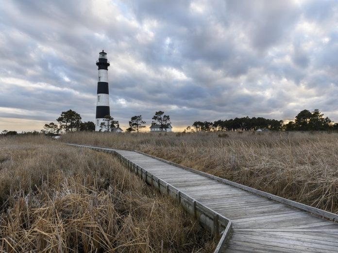 Bodie Lighthouse in Winter with Storm Clouds