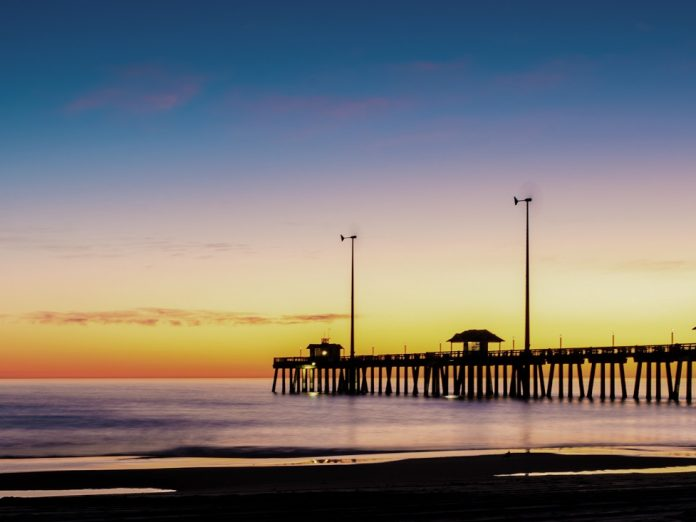 """This photo of Jennette""""s Pier was taken in the Early morning In Nags Head North Carolina, at the Outer Banks"""