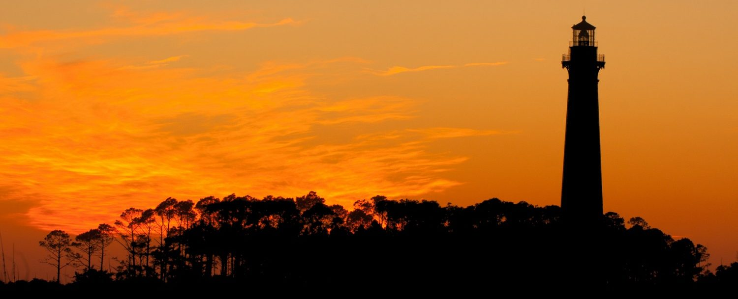 bodie island lighthouse on the outer banks at sunset