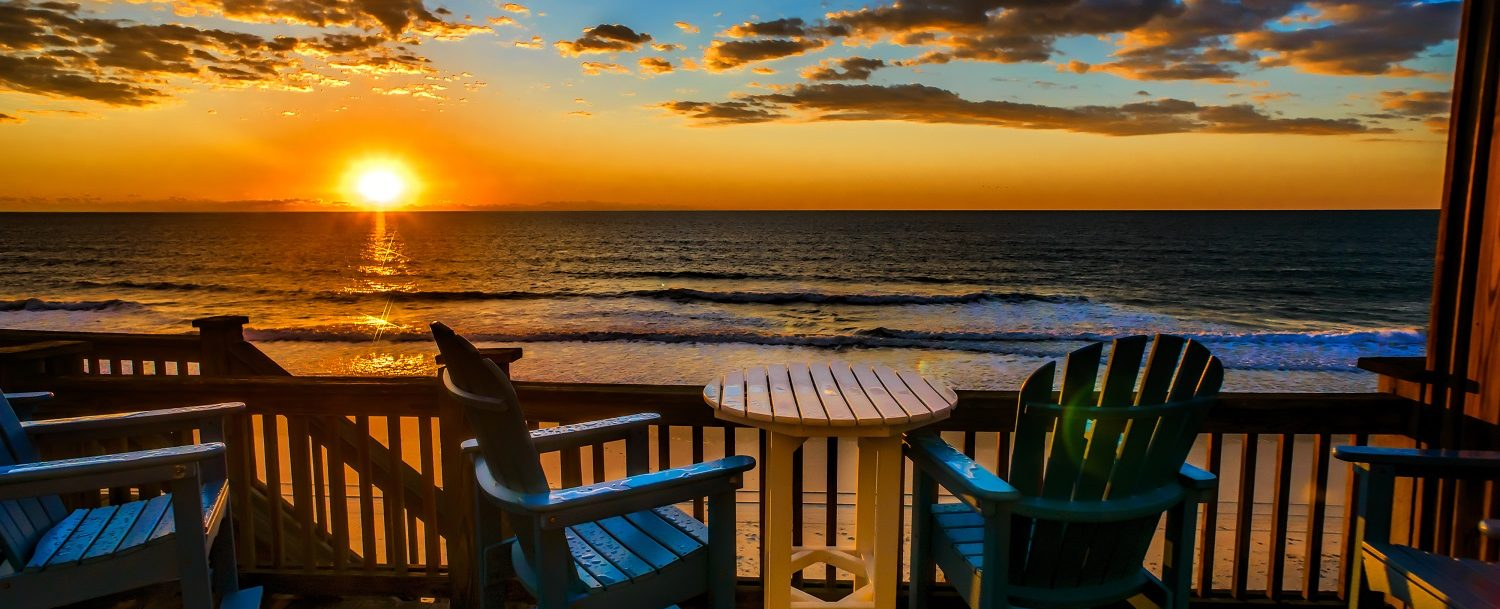 Beach house deck at sunrise
