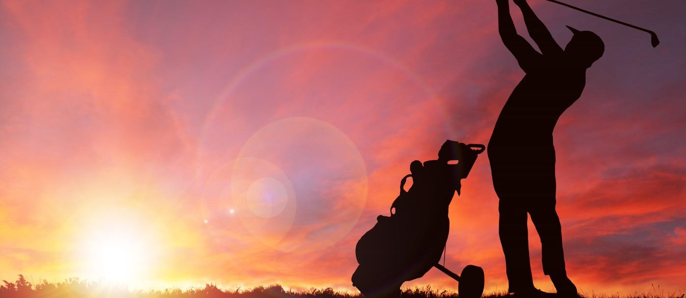golfer and sunset sunrise